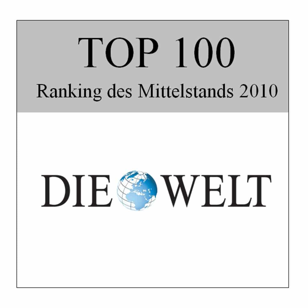 """Ocenenie """"Die Welt Top 100"""" pre spoločnosť Schwank GmbH."""